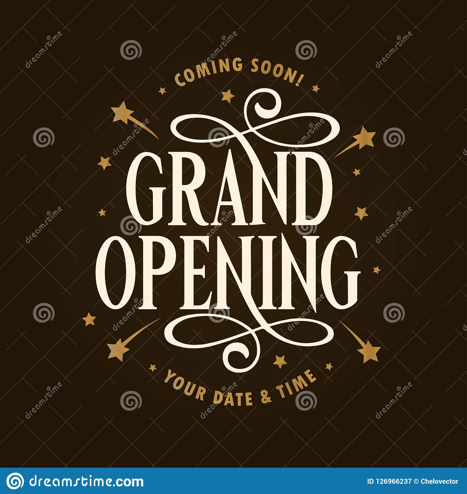 grand opening template banner poster vector vintage illustration