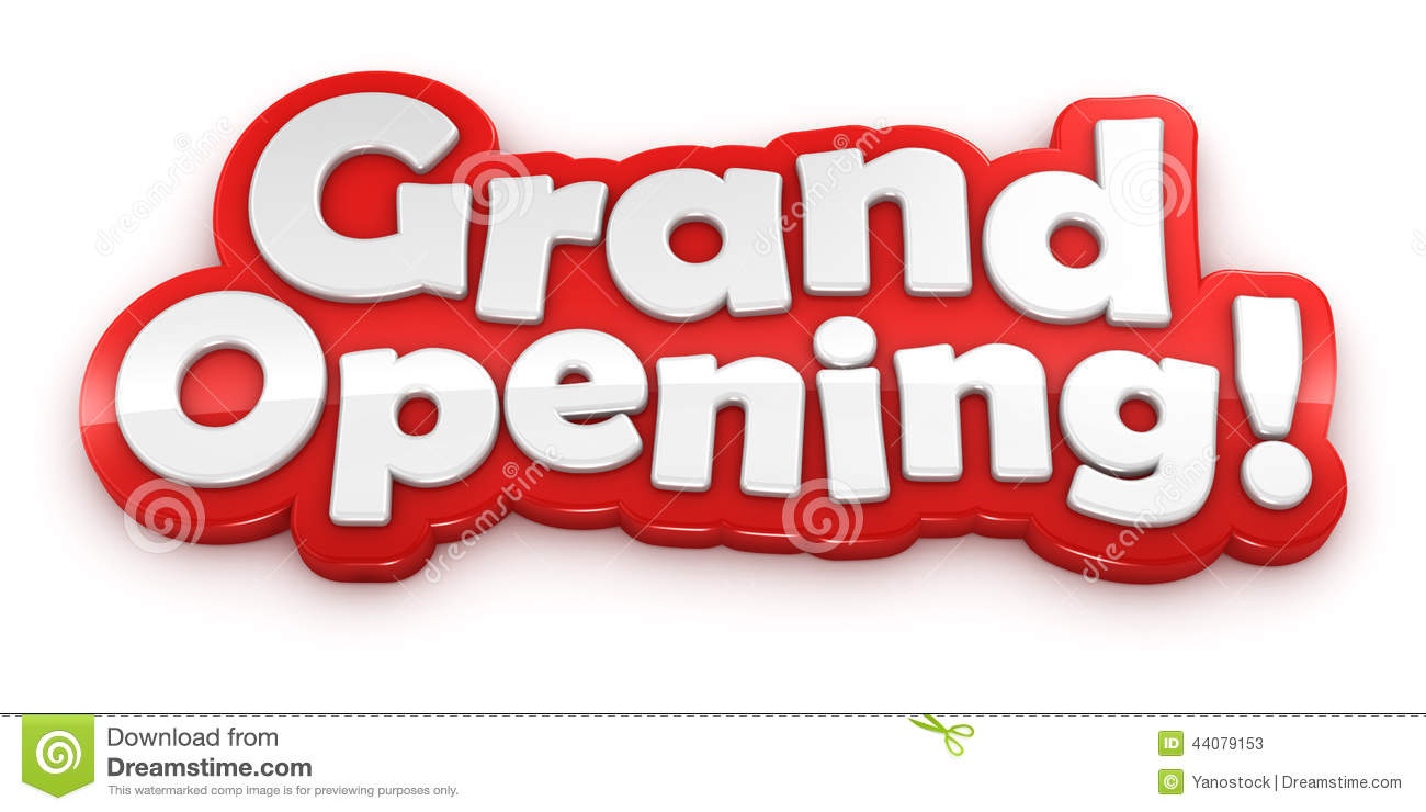 Grand Opening Text Banner White Background Stock