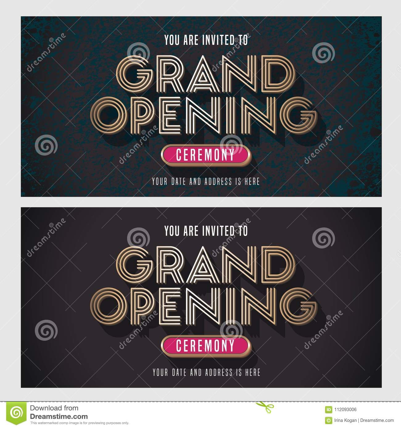 grand opening vector banner illustration