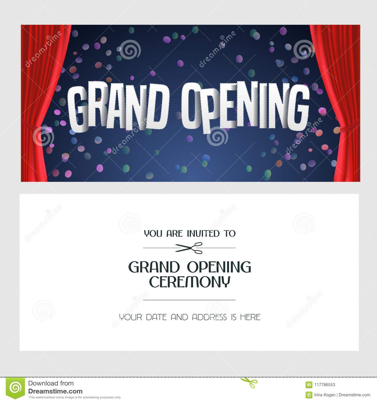 Grand Opening Vector Banner Invitation Stock Vector Illustration