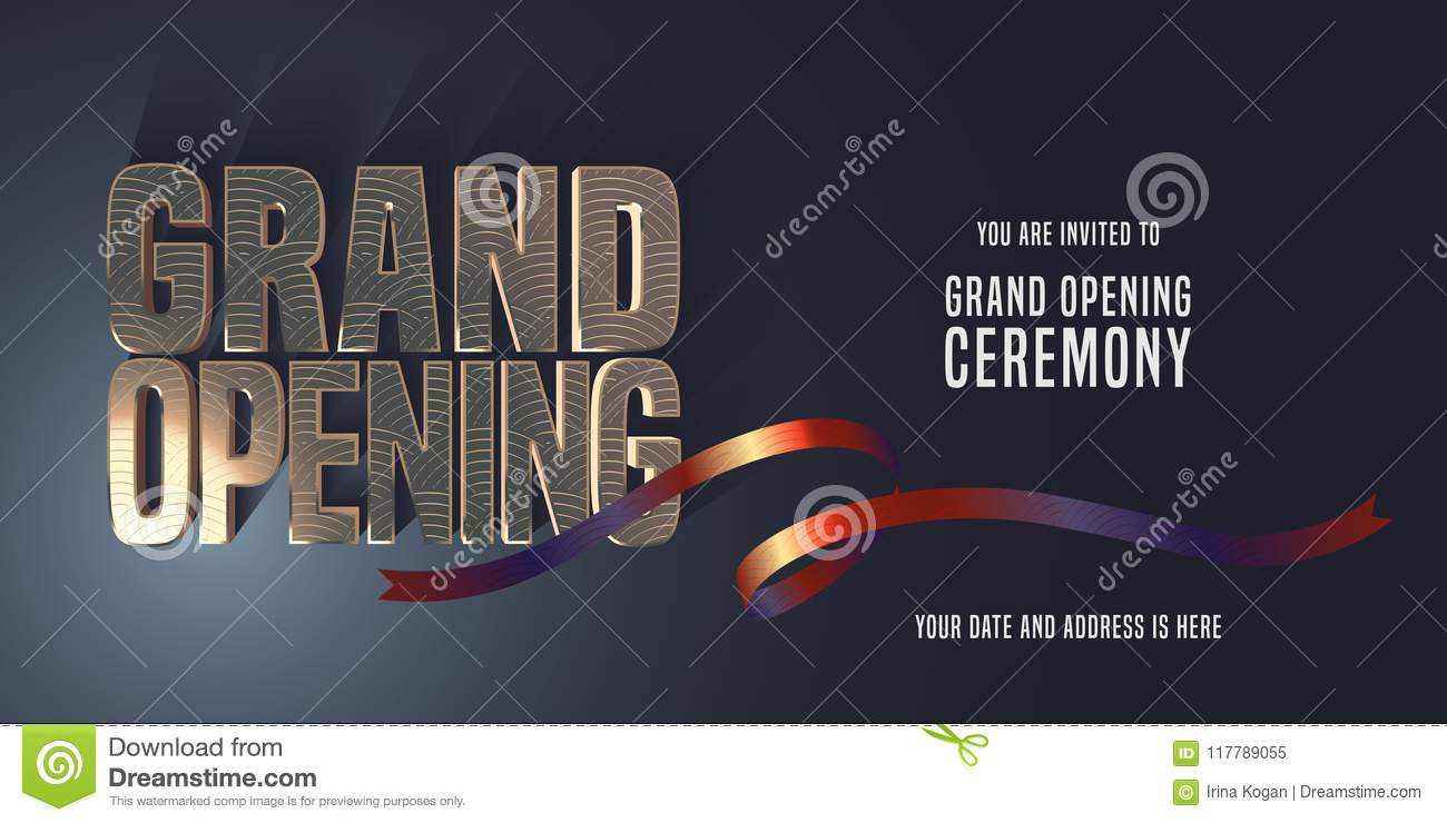 grand opening vector banner invitation