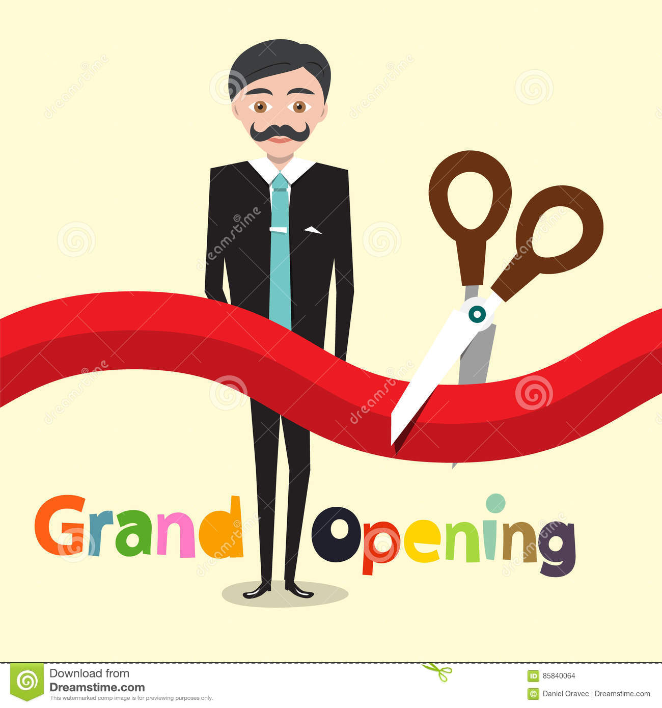 Grand Opening. Vector Flat Design Cartoon
