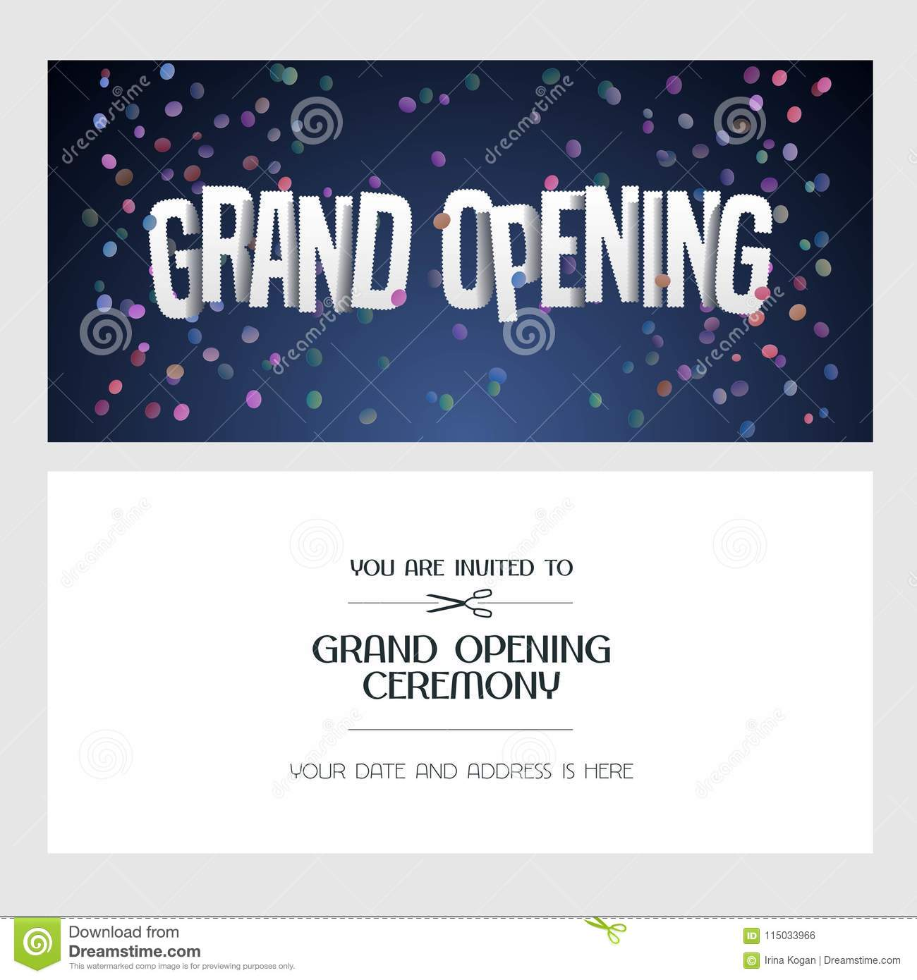 Grand Opening Vector Illustration, Invitation Card For New Shop. Template  Banner, Invite For Opening Event, Red Ribbon Cutting Ceremony