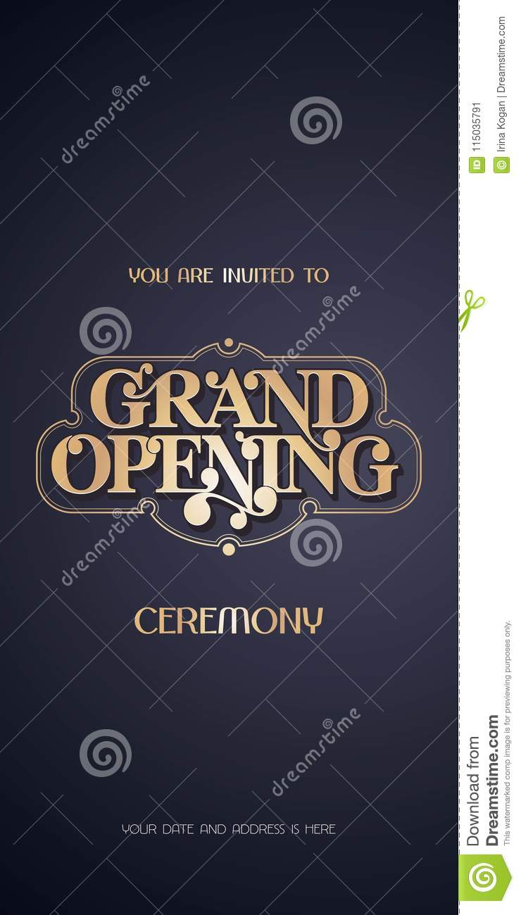 Grand Opening Vector Illustration Invitation Card For New