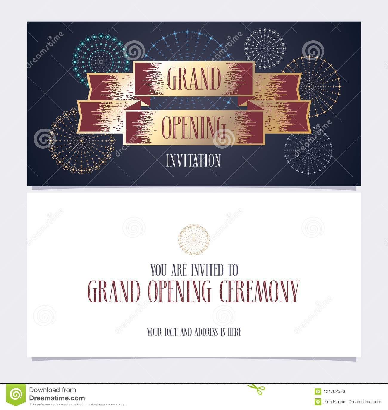 Grand Opening Vector Illustration Invitation Card Stock