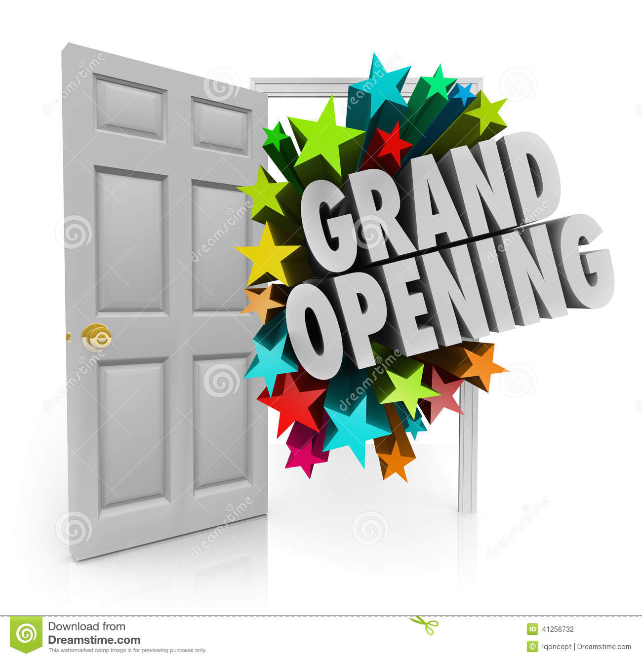 grand opening words stars open door big sale invitation stock illustration
