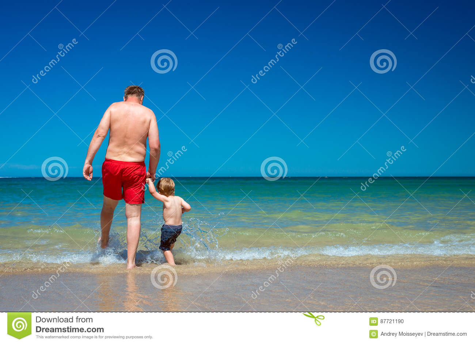 Grand-père avec le petit-fils sur la plage