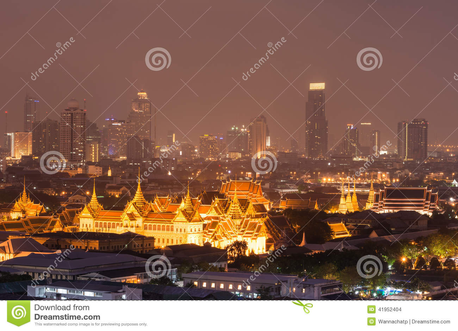 Grand Palace, Emerald Buddha Temple And Night City View ...