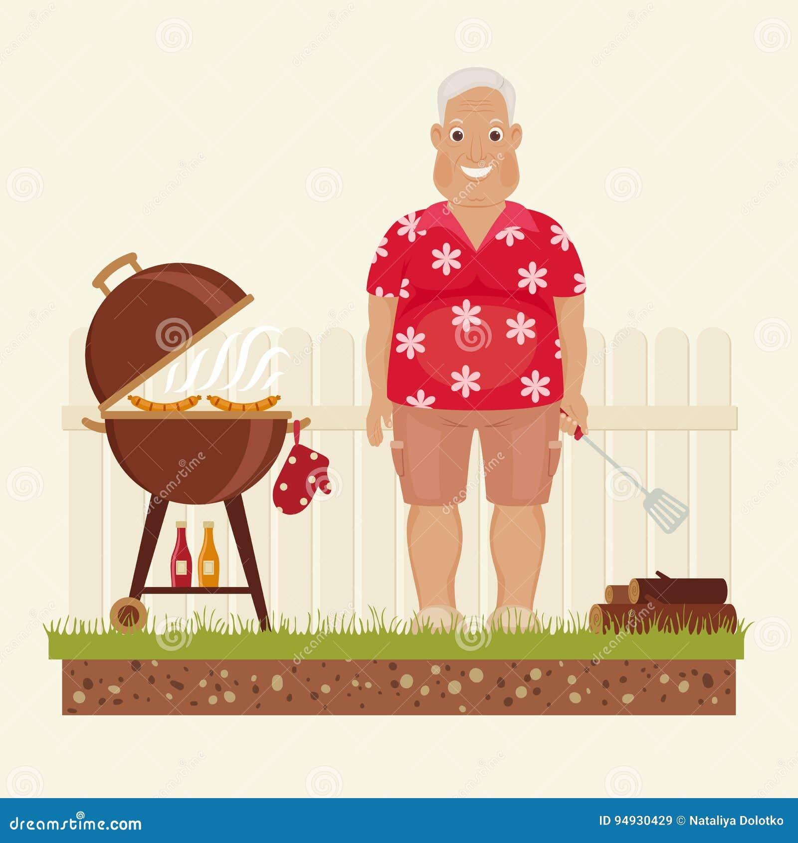 Grand-papa grillant dehors