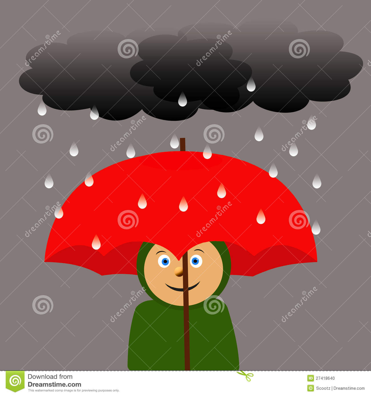 Grand parapluie rouge