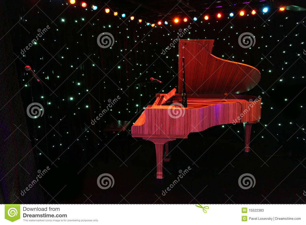 Empty Stage With Piano Grand piano at concert stage with black curtain ...