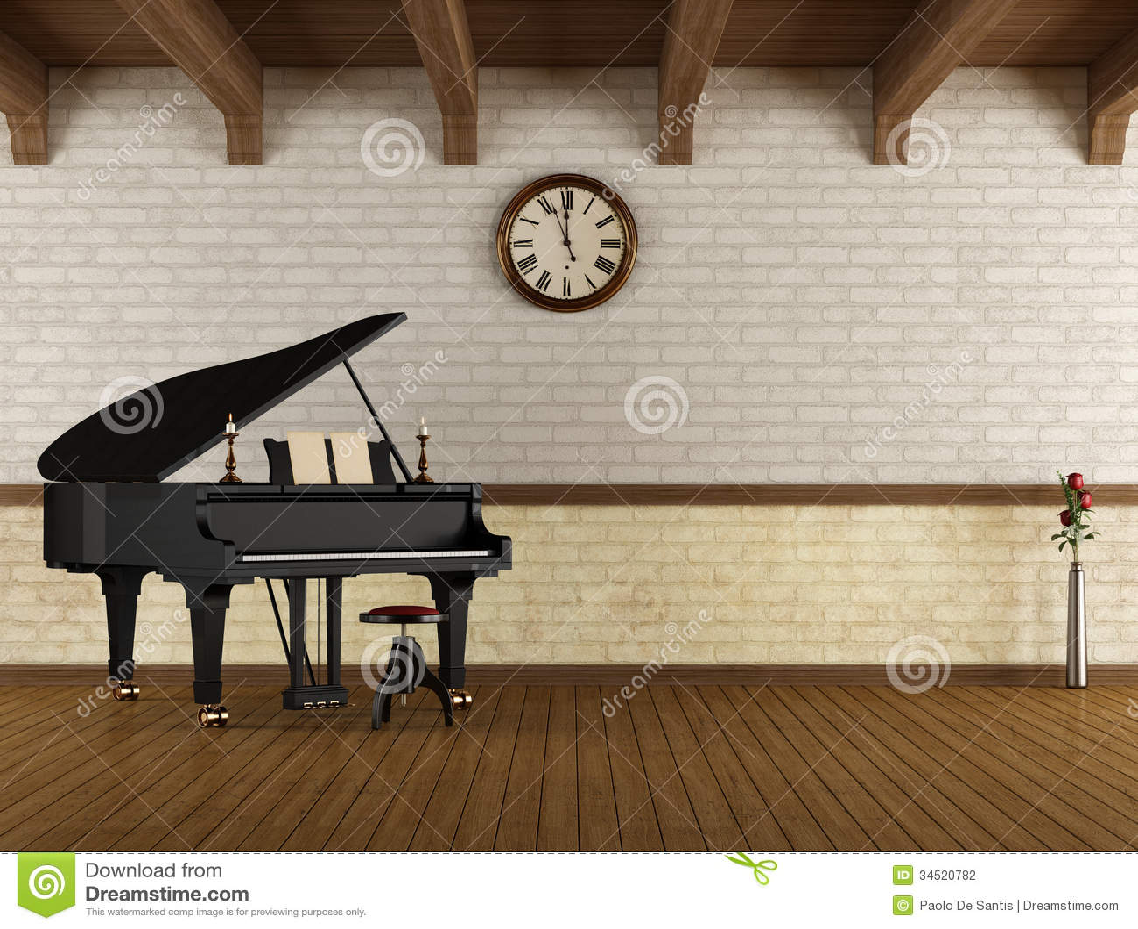 Grand Piano In A Empty Room Stock Illustration