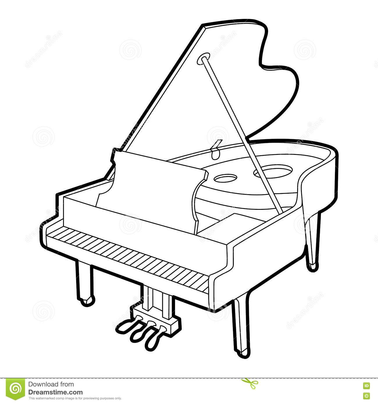 Line Art Keyboard : Isolated piano outline vector illustration cartoondealer