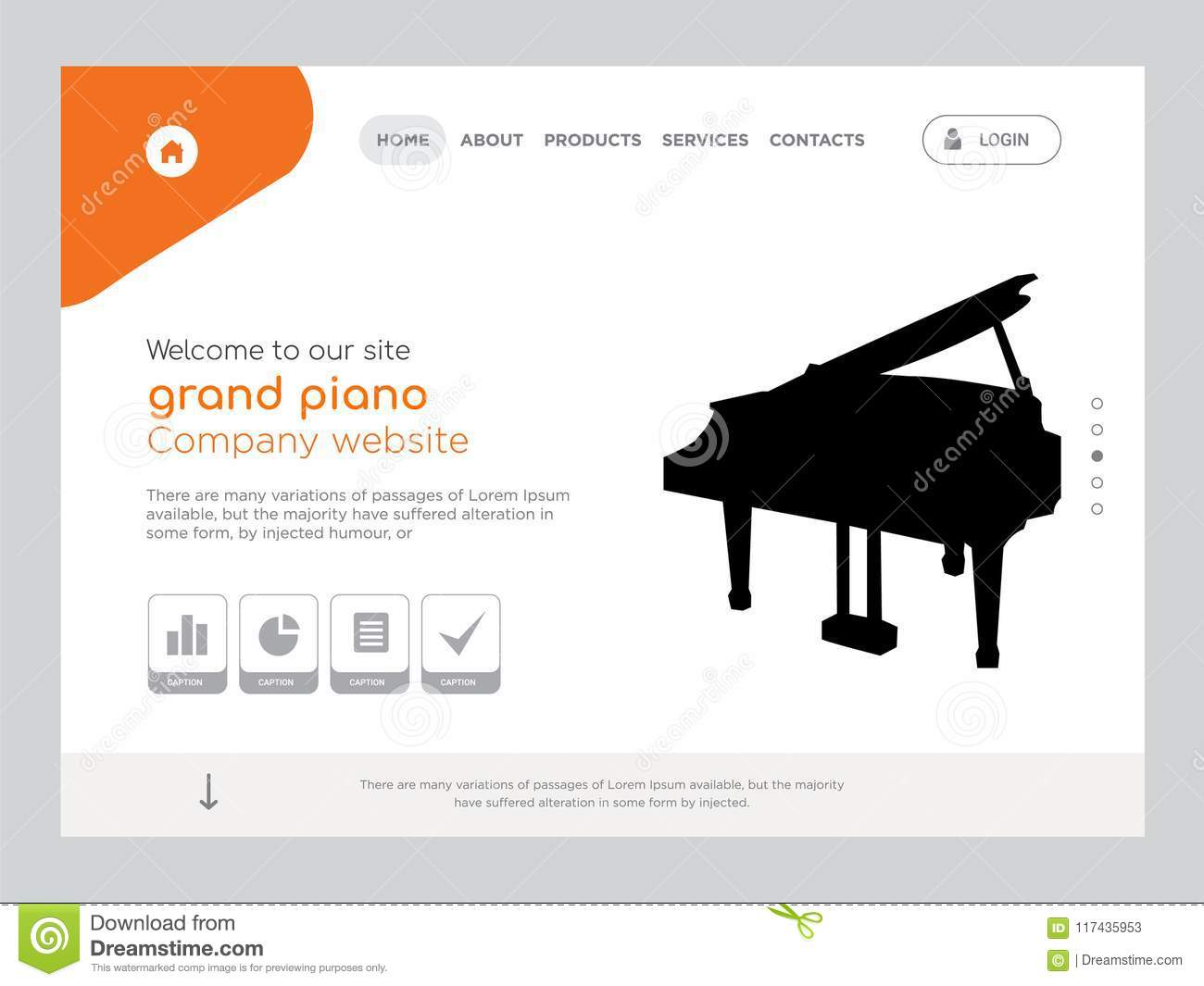 grand piano landing page website template design stock illustration