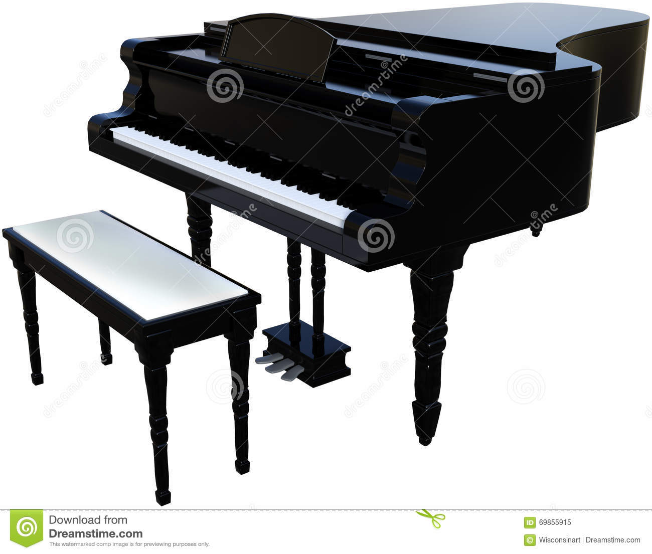 Grand Piano Musical Instrument Isolated Stock Image - Illustration ...