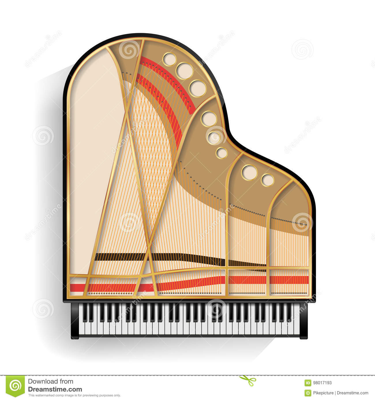 Grand Piano Opened Vector Realistic Black Top View Parts Diagram Isolated Illustration Musical
