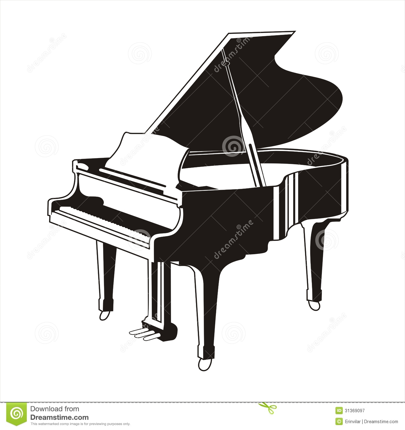 Royalty Free Stock Photography Grand Piano Silhouette