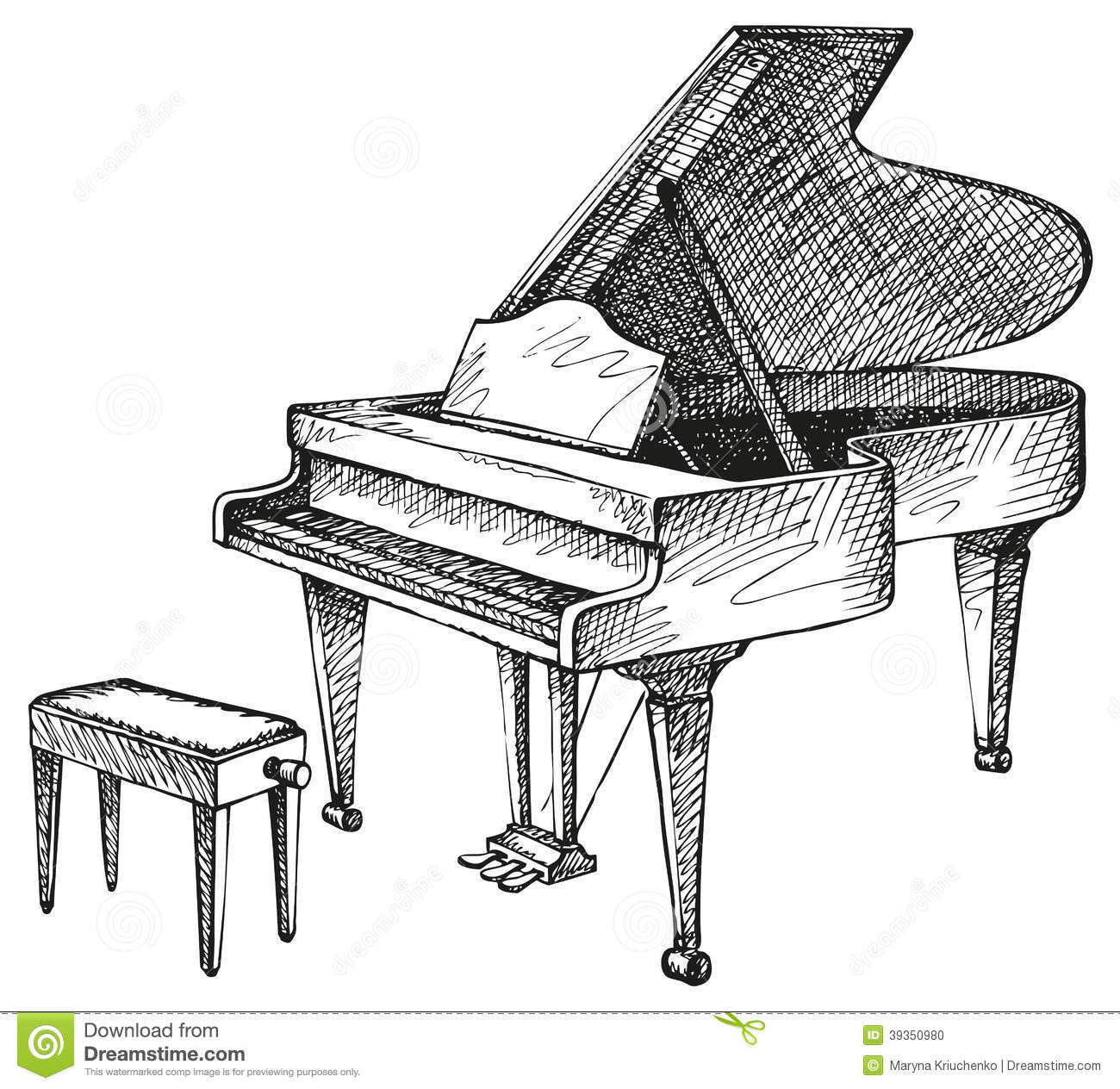 Grand Piano And Stool For Musician Stock Vector Image