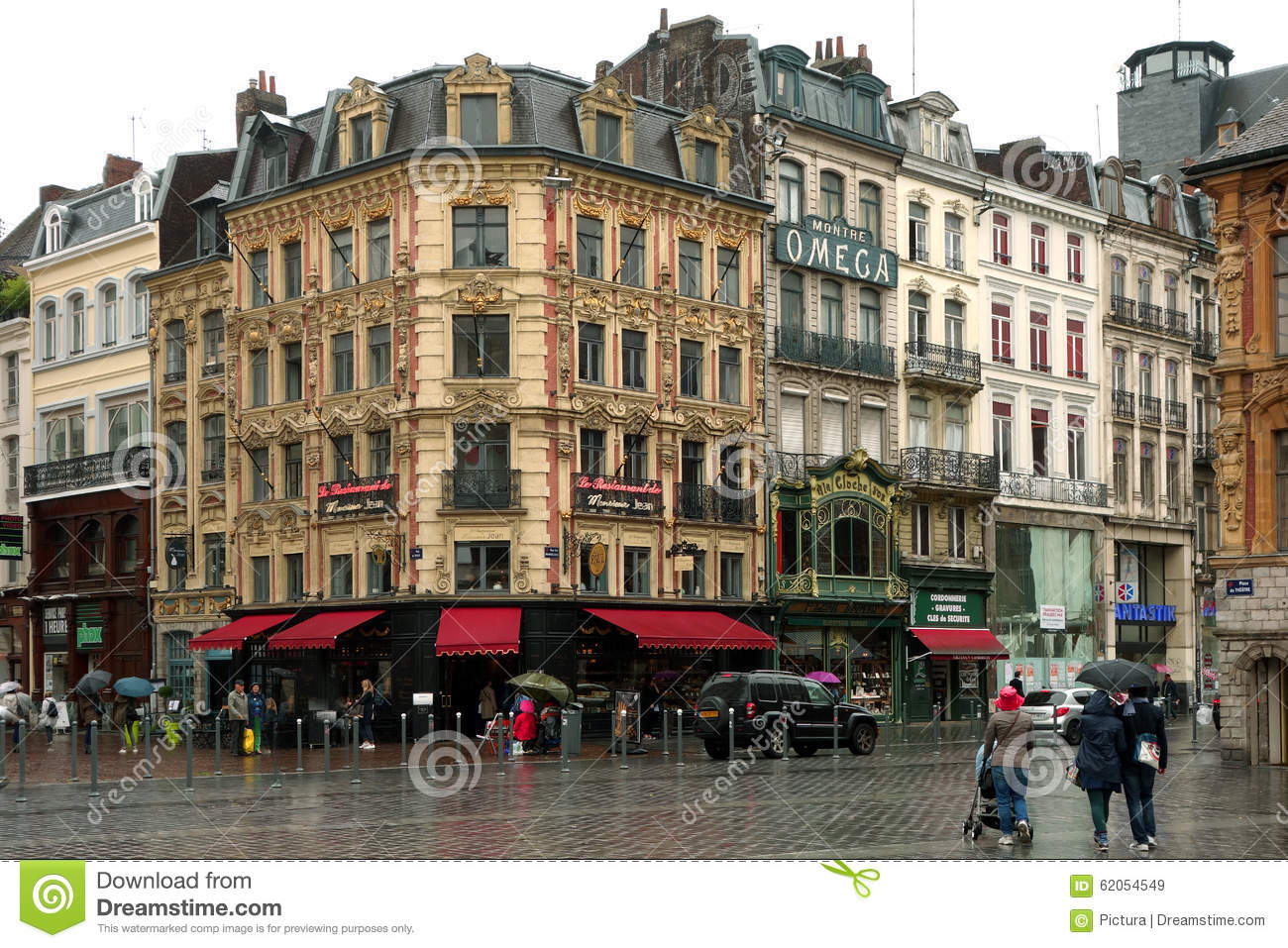 grand place in lille france on rainy day editorial stock. Black Bedroom Furniture Sets. Home Design Ideas