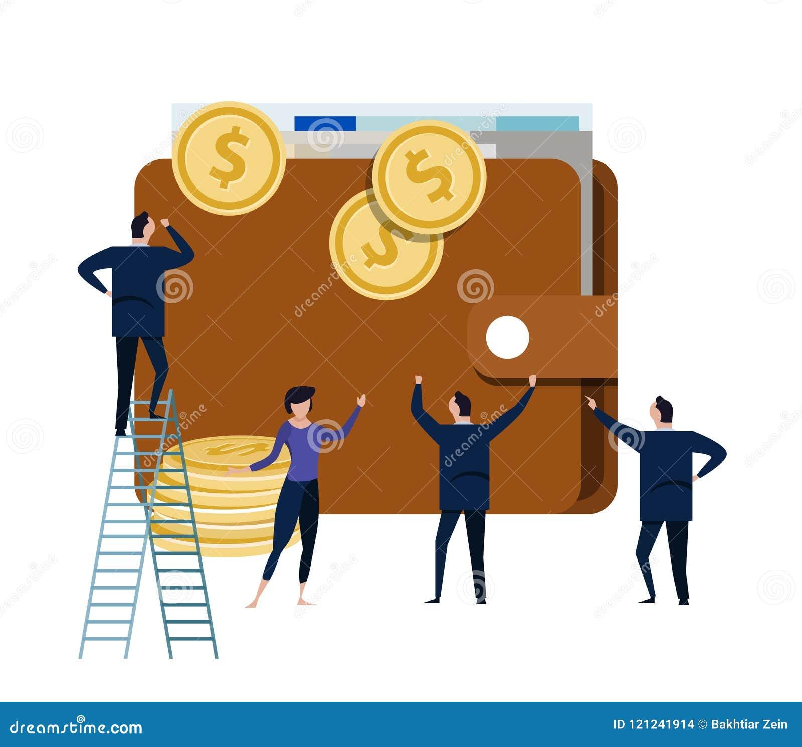 Grand portefeuille avec le petit homme d affaires de personnes autour de lui concept d argent liquide de gestion du dollar d arge