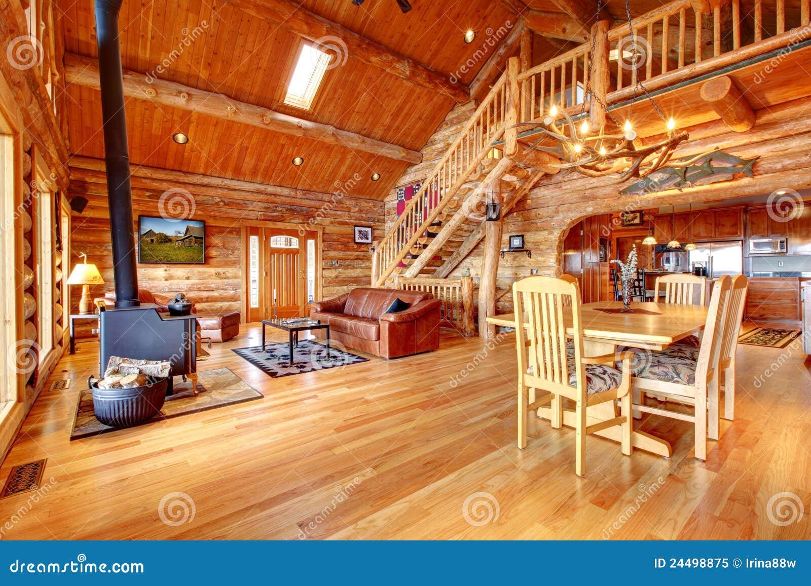 grand salon de luxe de cabane en rondins photo libre de droits image 24498875. Black Bedroom Furniture Sets. Home Design Ideas