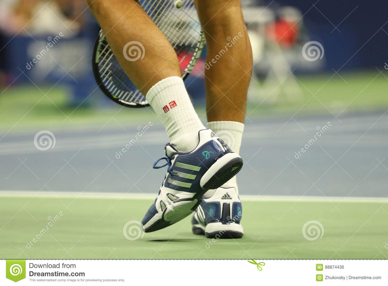 Grand Slam Champion Novak Djokovic Of Serbia Wears Custom Adidas Tennis Shoes During Match At Us Open 2016 Editorial Photo Image Of Serbia Players 88874436
