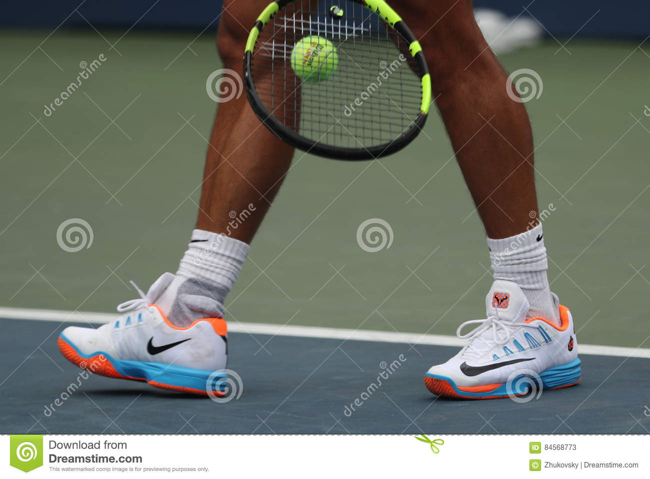 size 40 a0bd4 10bdf Grand Slam champion Rafael Nadal of Spain wears custom Nike tennis shoes  during practice for US