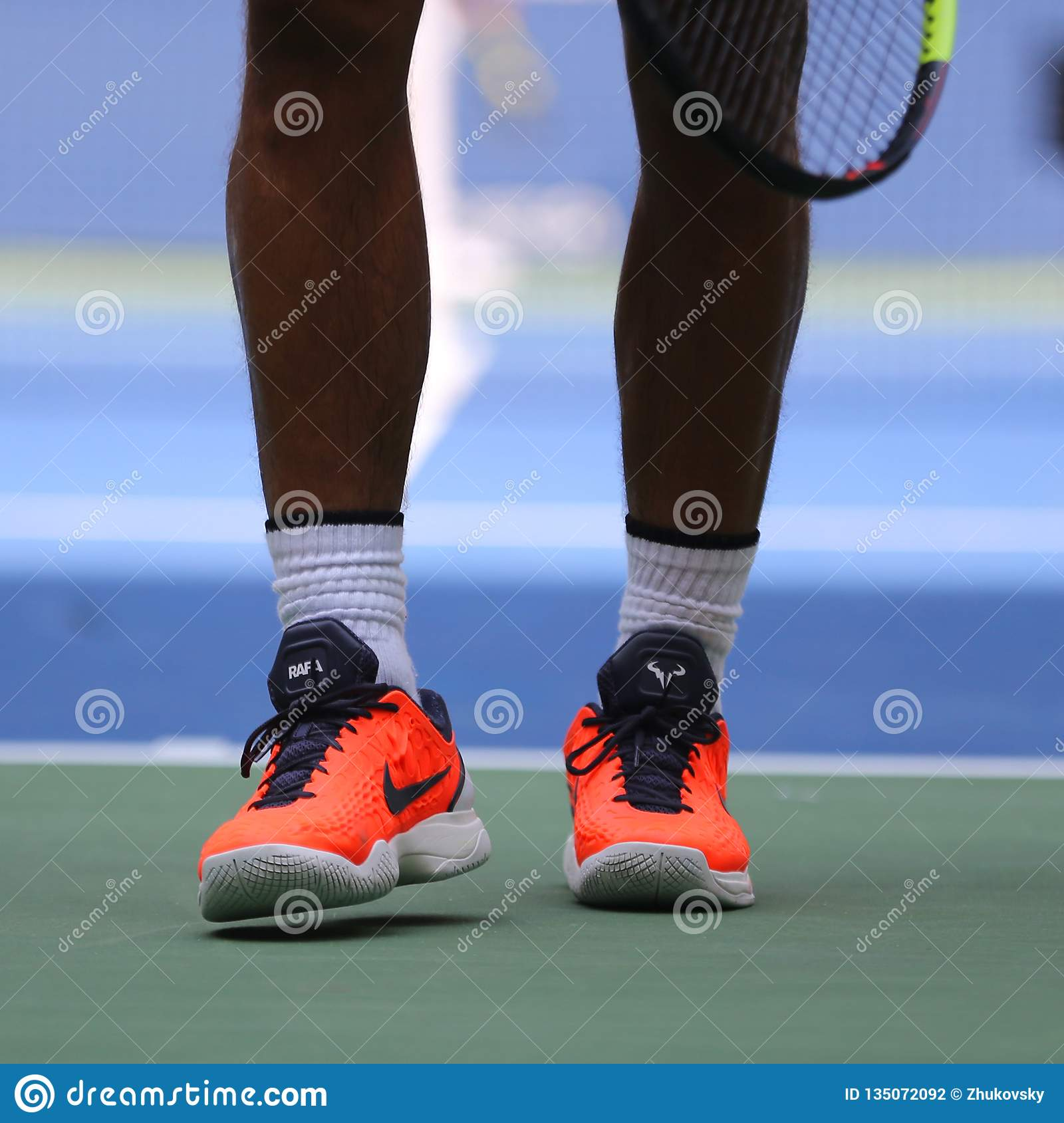 Grand Slam Champion Rafael Nadal Of Spain Wears Custom Nike Tennis Shoes During Us Open 2018 Editorial Photography Image Of Professional Players 135072092