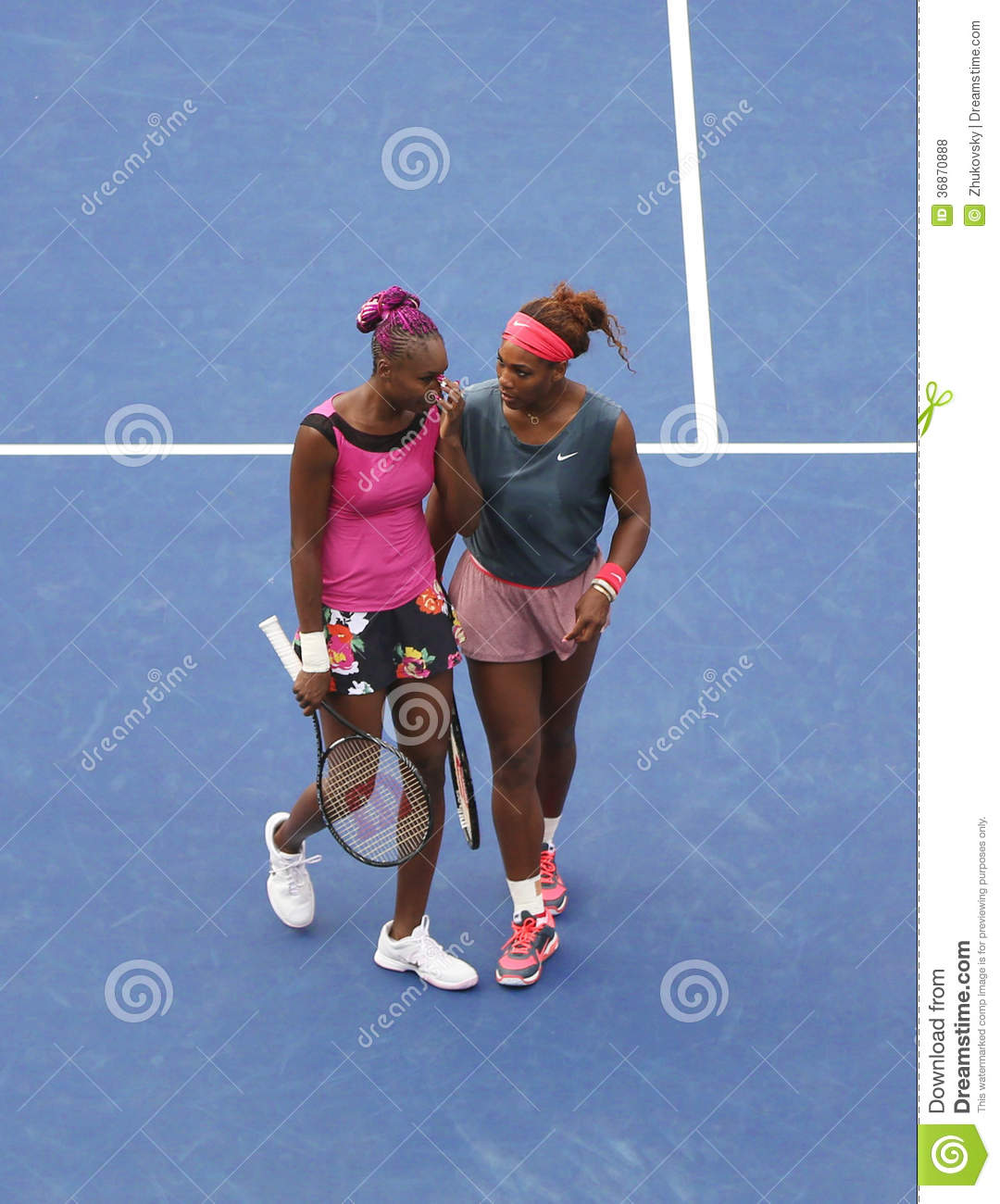 ... second round doubles match at US Open 2013 Editorial Stock Photo