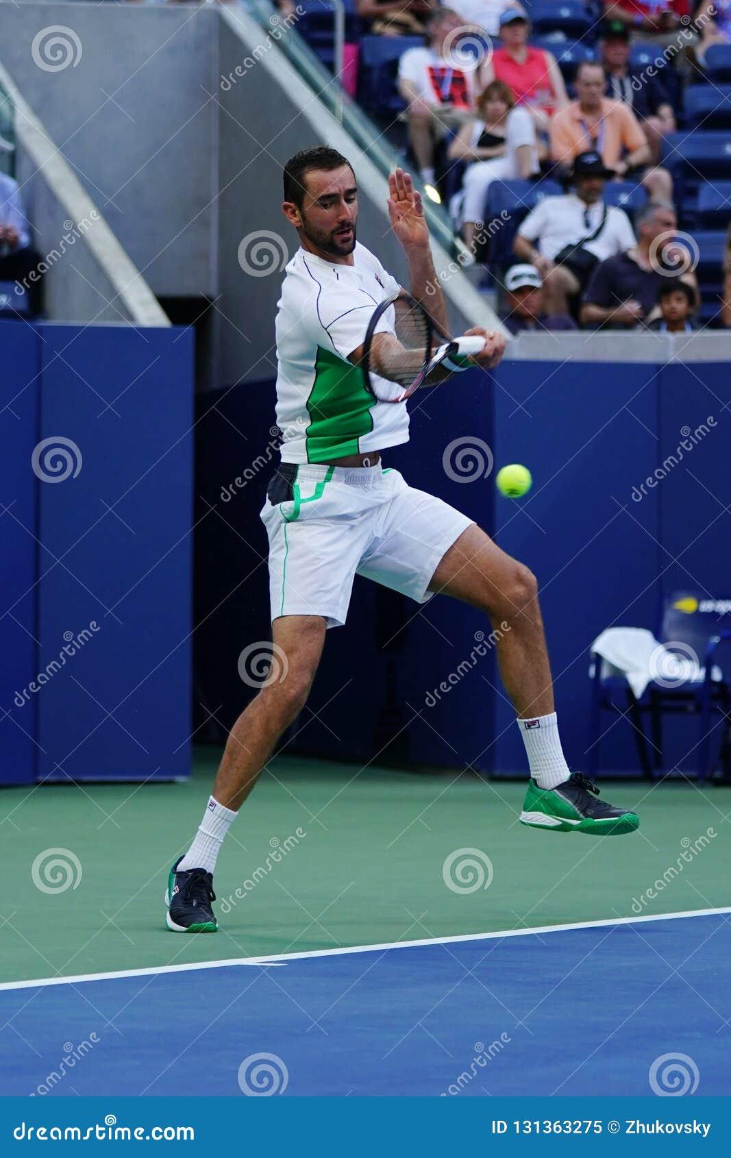 Grand Slam-Kampioen Marin Cilic van Kroatië in actie tijdens zijn het US Openronde van 2018 van gelijke 16
