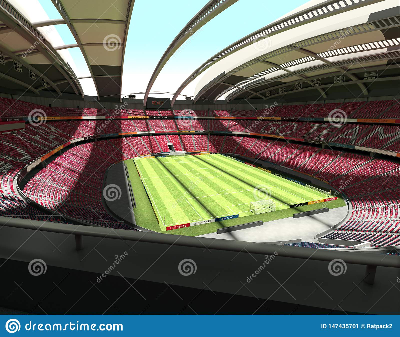 Grand stade de football vide - vue de panorama