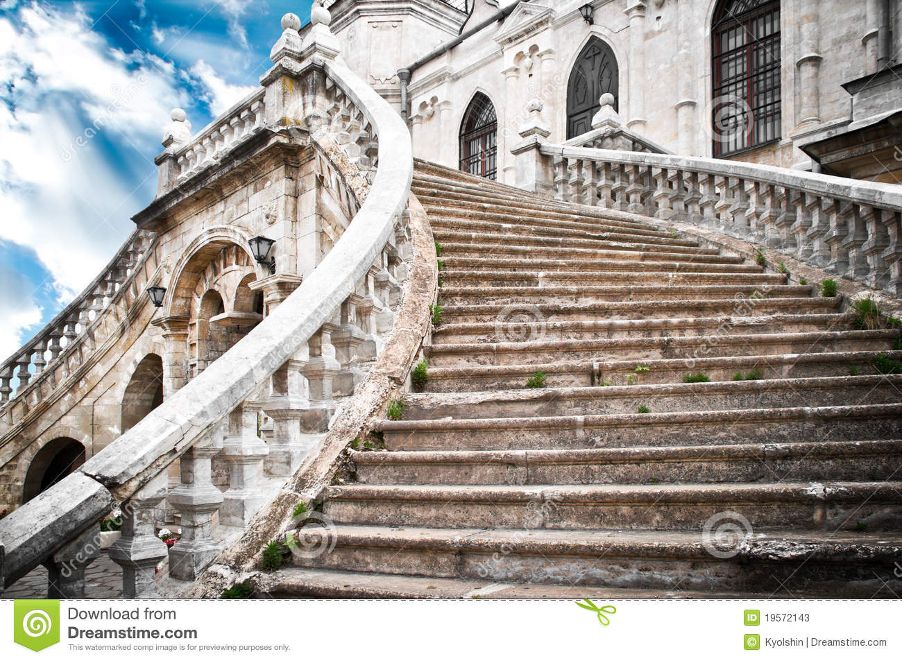Beautiful ancient grand stairway of the church with blue cloudy sky in ...
