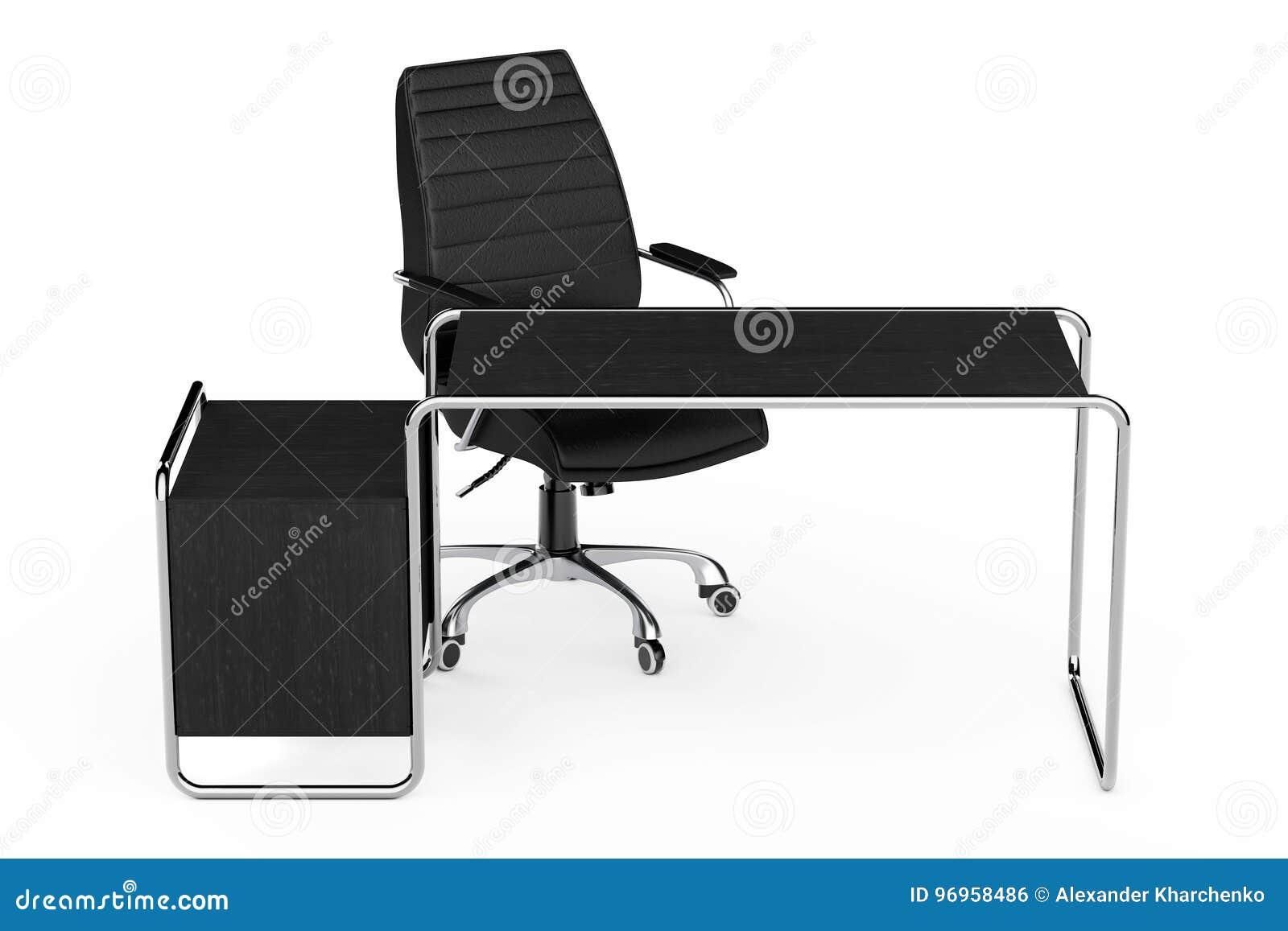 Grand tableau en bois vide moderne de bureau avec des tiroirs et le