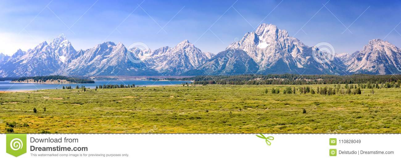 Grand Teton national park, mountain range panorama, Wyoming USA