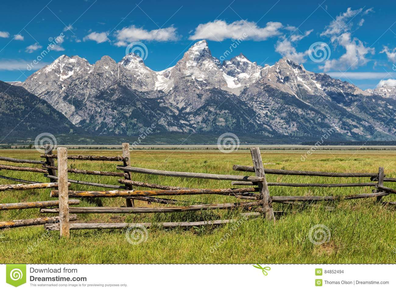 Grand Tetons and corral fence