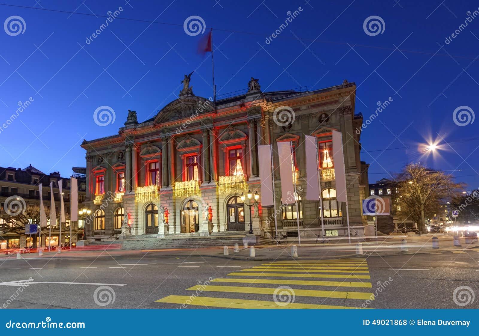 #1041BB Grand Theatre Or Big Theater Geneva Switzerland Stock  5545 decorations noel geneve 1300x928 px @ aertt.com