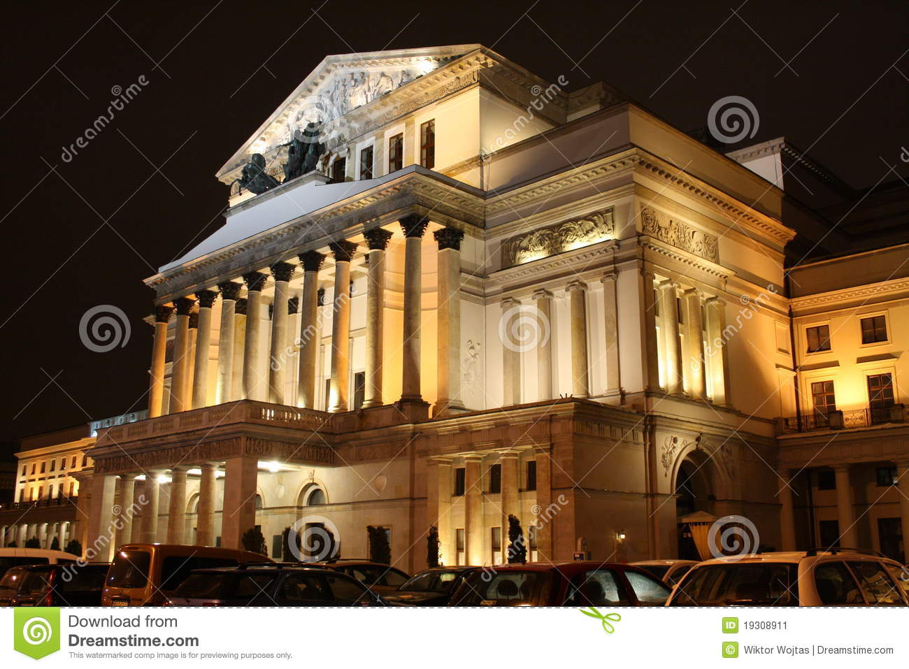 Grand Theatre in Warsaw (Poland) by night