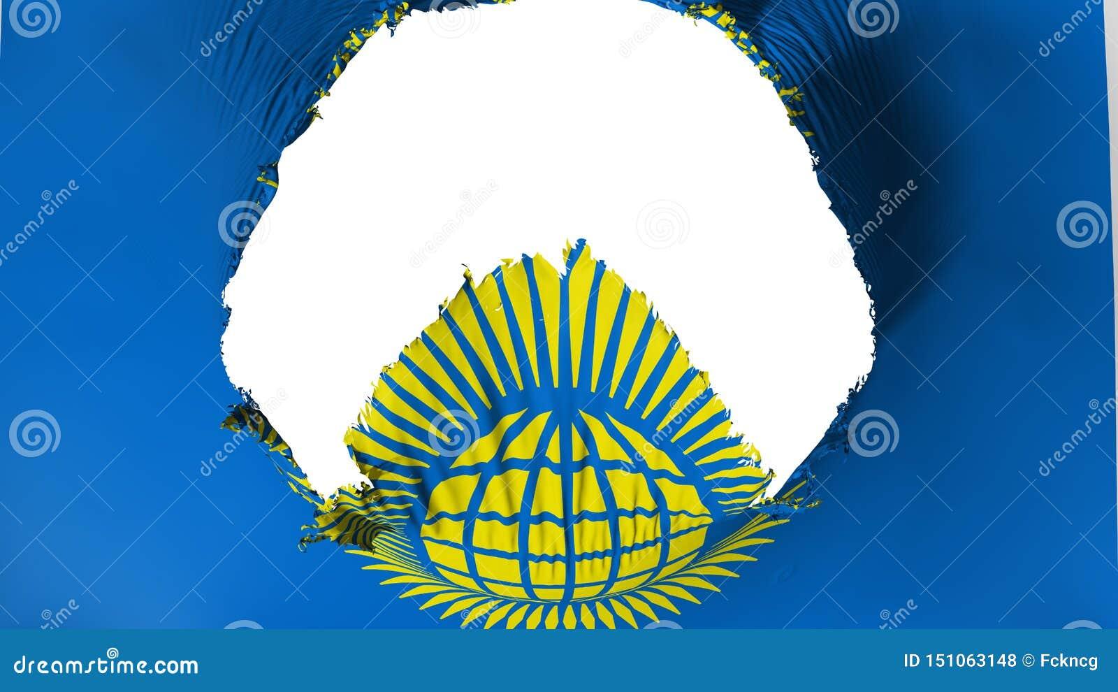 Grand trou dans le Commonwealth du drapeau de nations
