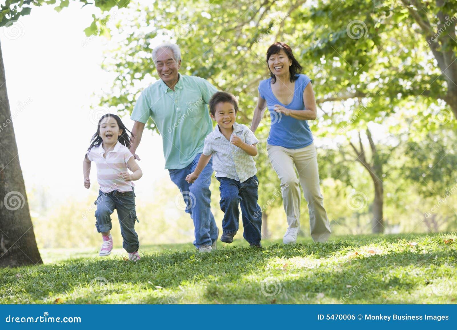 Grandchildren grandparents running