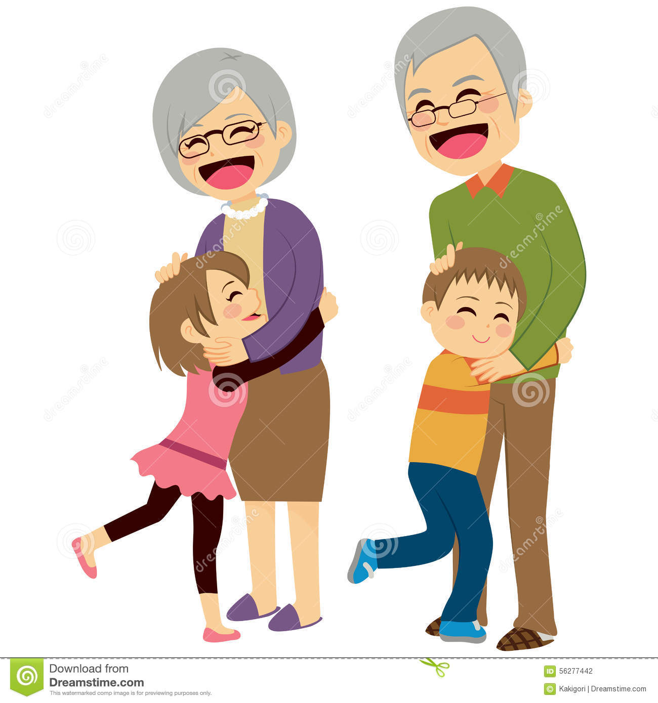 grandchildren hugging grandparents stock vector