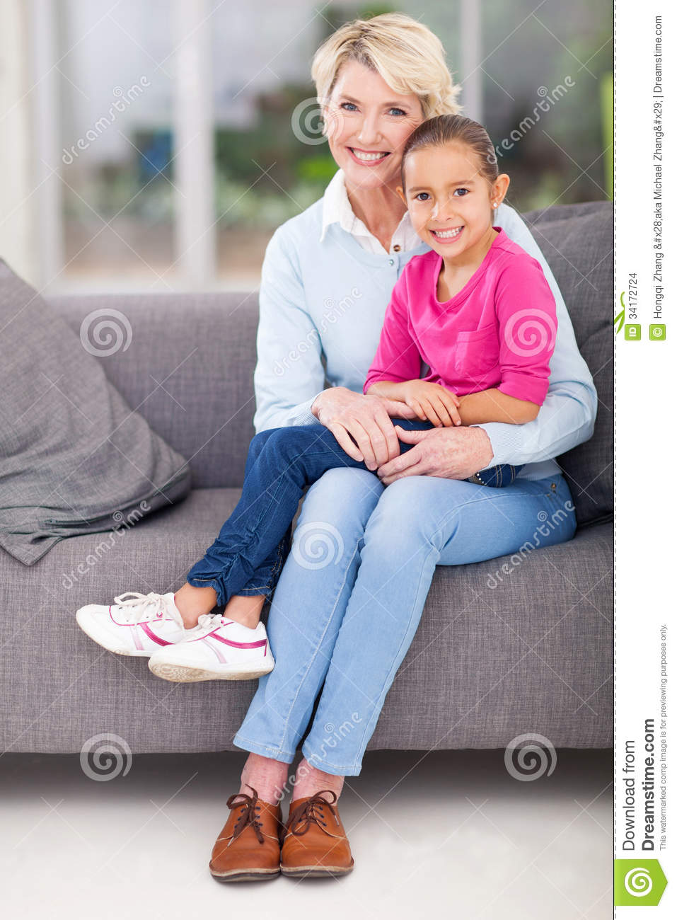 Granddaughter Grandma Lap Stock Images - Image: 34172724