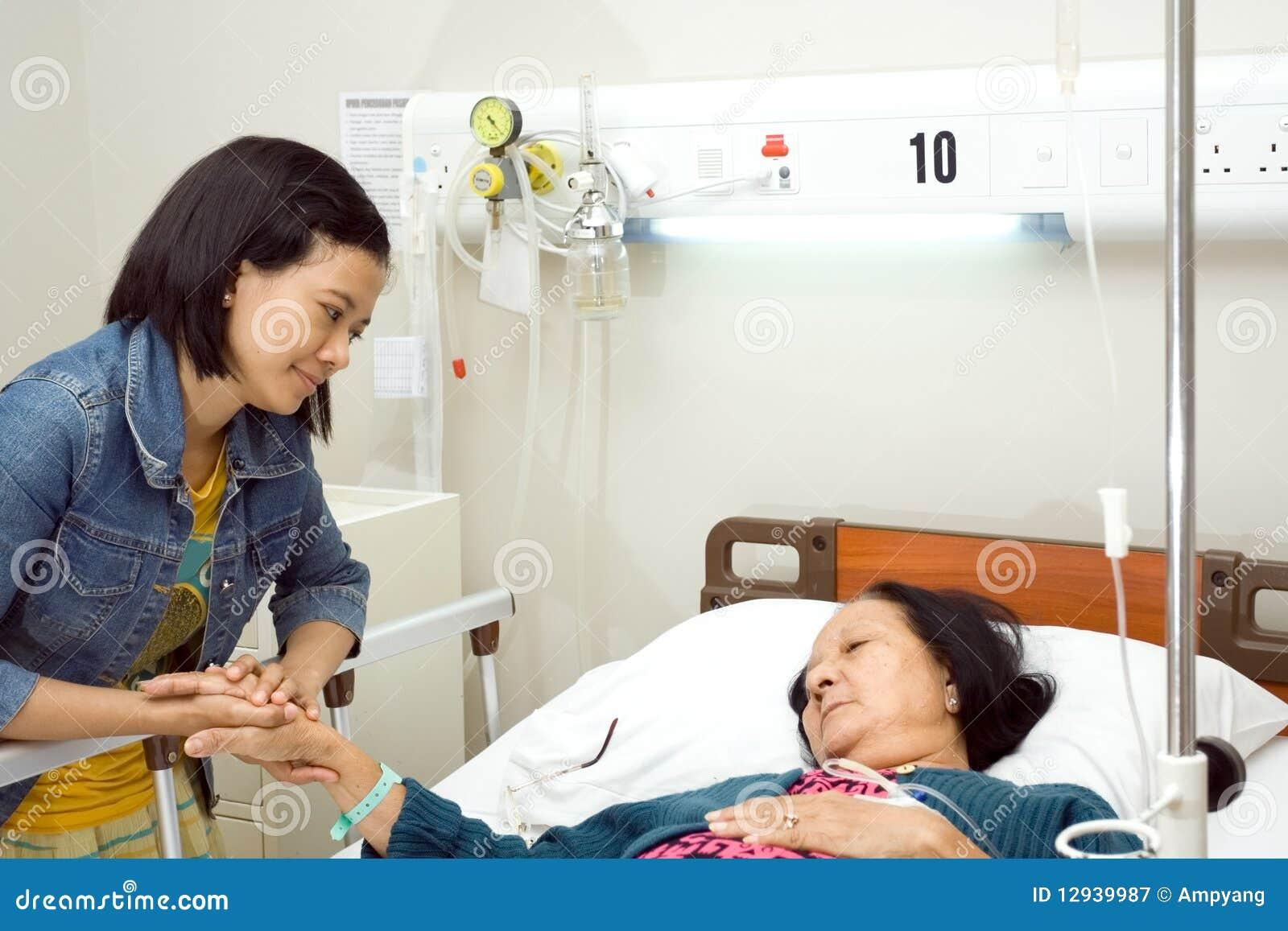 Granddaughter Visit Sick Grandmother Royalty Free Stock ...