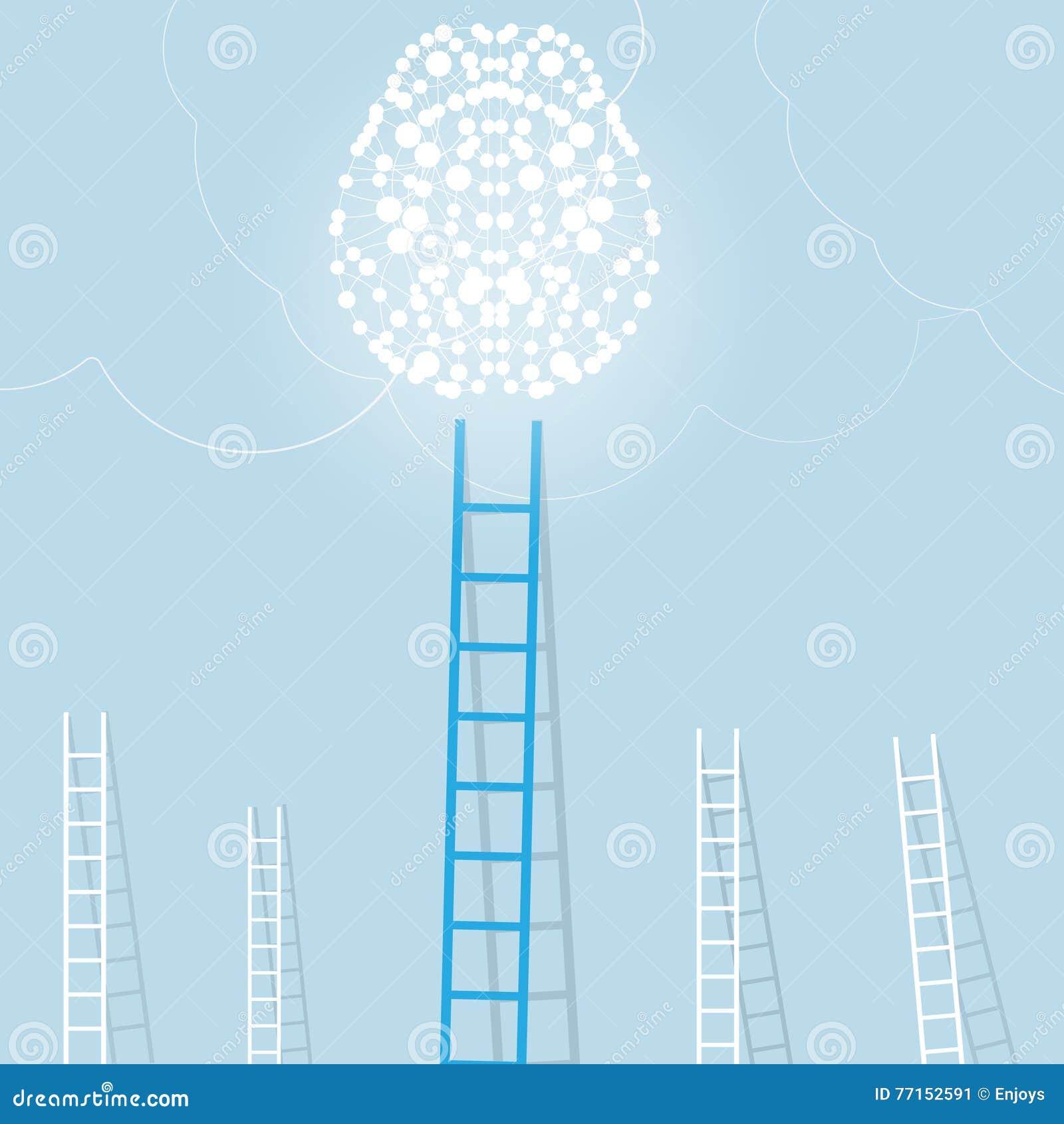 Grande échelle bleue de cerveau léger avec le petit blanc ceux fond de concept d affaires d arrangement de but