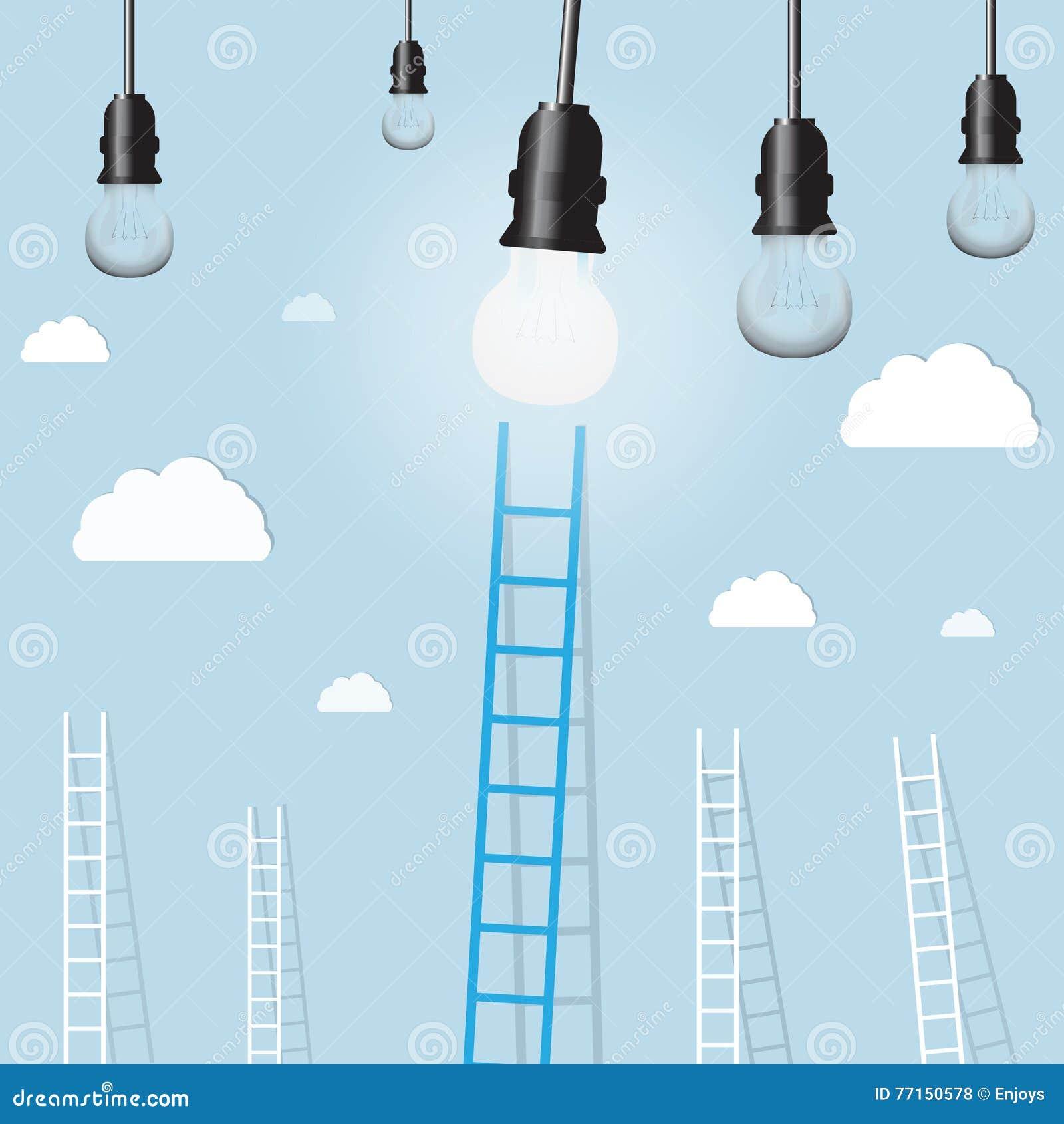 Grande échelle bleue de lampe légère avec le petit blanc ceux fond de concept d affaires d arrangement de but