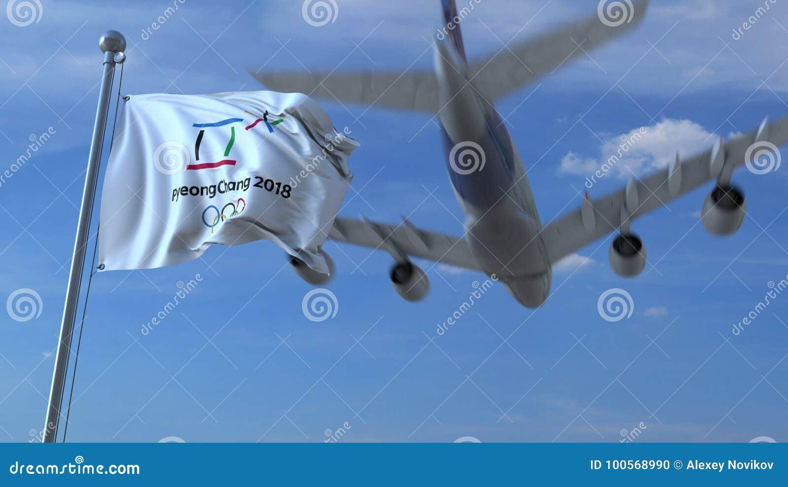 Grande aeroplano commerciale che viaggia in Corea del Sud sopra la bandiera d ondeggiamento con un logo 2018 di 2018 olimpiadi in