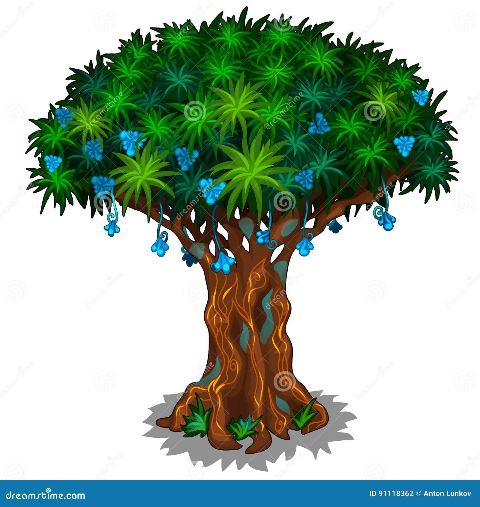 Grande albero leggiadramente con i fiori e le vene blu di energia