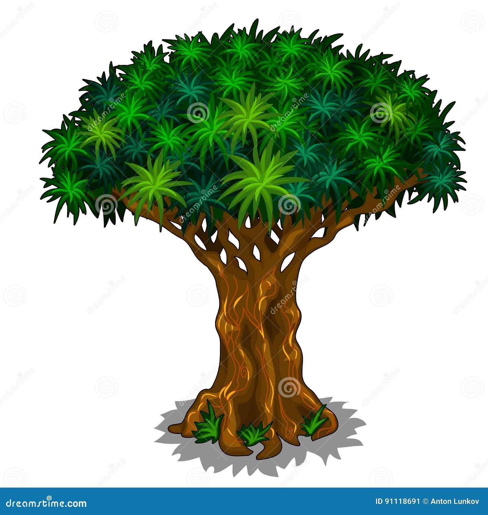 Grande albero magico con le vene di energia Fumetto di vettore