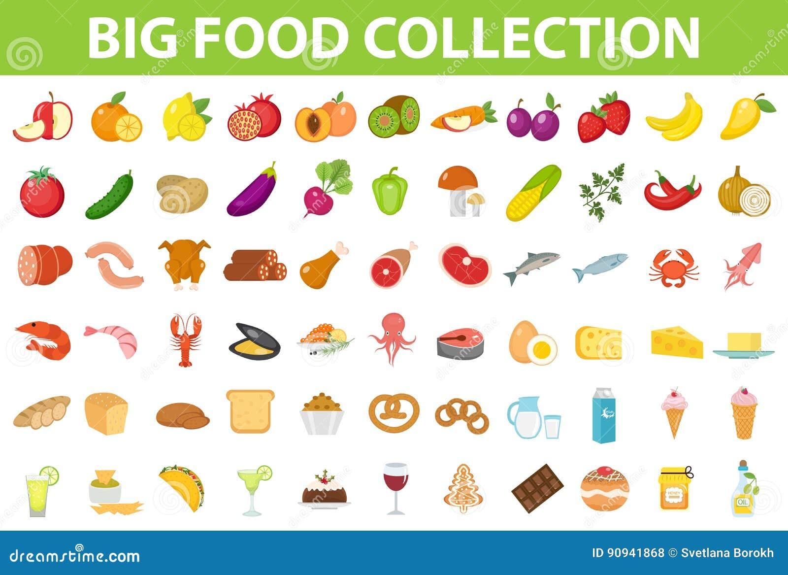 Grande alimento delle icone dell insieme, stile piano Frutti, verdure, carne, pesce, pane, latte, dolci Icona del pasto su bianco
