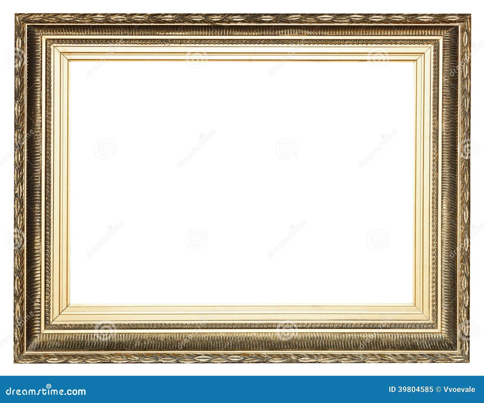 grande ampia cornice di legno antica dorata immagine stock