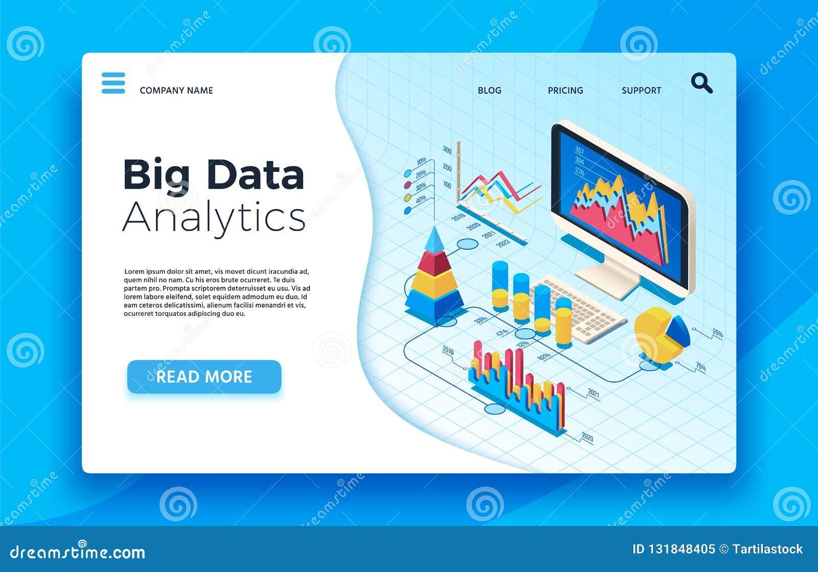 Grande analisi dei dati isometrica di dati Cruscotto infographic analitico di statistica illustrazione di vettore 3d